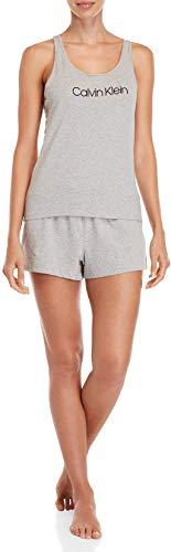 Calvin Klein Damen Jersey Sleeveless Short Pyjama Set, Grey Heather, X-Large