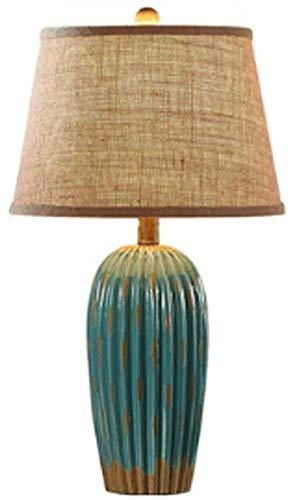 Antike Keramik Tischlampe einfache Knopfschalter Glühbirne antike Stoff Nachttischlampe Retro Schminktisch Lesen kreative Hochzeit Studie Schlafzimmer Wohnzimmer Tischlampe,Blue