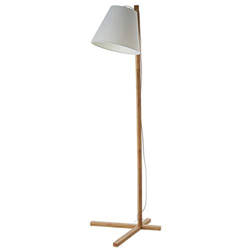 Lámpara de pie pantalla de bambú beige de 41x46x150cm - LOLAhome