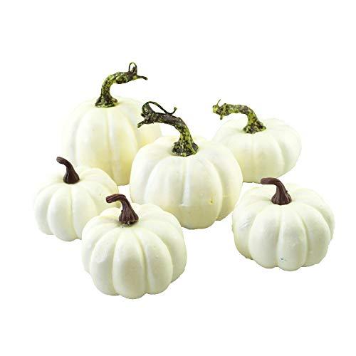 JUNICON 6 calabazas artificiales blancas de varios tamaños para Halloween, Acción de...