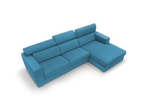 Sofá fijo de tela suave totalmente desenfundable, modelo Titan de 3 plazas o esquinero con chaise longue derecha o izquierda, estructura de madera, fabricado en Italia, color marrón