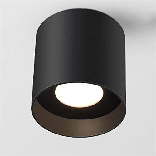 Foco montado en la superficie de la superficie del techo LED, lámpara de iluminación negra de Downlight RA80 redonda 110V - Lámpara de 230V, manchas de aluminio, luminarias de mazorca anti-deslumbrami