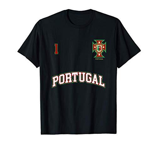 Squadra Calcio Portogallo Numero 1 Bandiera Portoghese Maglietta