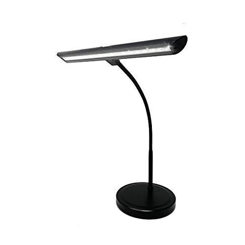 Infitronic IN18LEDKL – 18 LEDs Klavierleuchte Klavierlampe Tischlampe Warmweißes Licht Dimmbar USB Ladeanschluss Schwarz