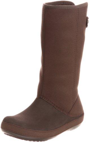Crocs Womens Berryessa Tall Faux Suede Boot Shoes, Espresso/Espresso, US 5
