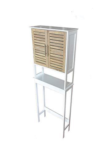 BM 4010 Mobile per Lavatrice/Salvaspazio da Bagno/Mobile sopra Toilette WC, W57xD23xH179.5cm, MDF, Colore Bianco/Legno Grano