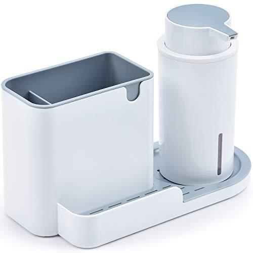 Kingrack,Set Organizador Cocina, Jabonera de Cocina, Dispensador de Detergente,Cocina lavavajillas Esponja de Almacenamiento Estante, ABS,24.5 x 13.5 x 13 cm
