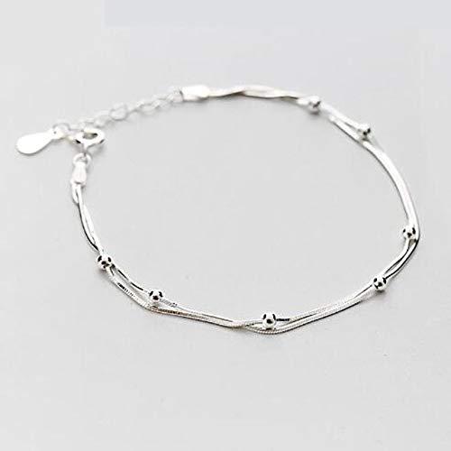 DGFGCS Ladies silver bracelet 925 Sterling Silver Double Round Beads Snake Bone Chain Bracelets & Bangles For Women Lady Fine Jewelry