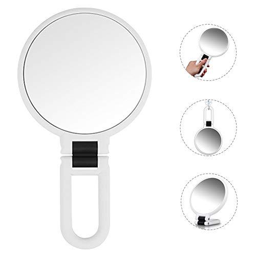 Espejo Maquillaje de Mano con Plegable Mango Espejos Vanidad Doble Cara Aumento 1X/5X Niña Mujer Bolso Bolsillo Sobremesa Viaje Portatil Pequeño Makeup Hand Mirror Vanity Magnifying Redondo (Blanco)