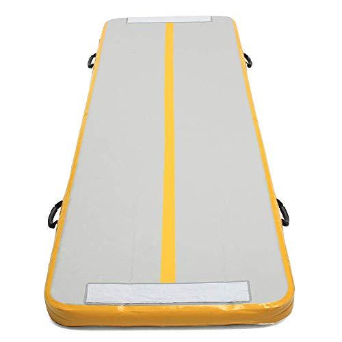 PQXOER Colchoneta de gimnasia hinchable, alfombrilla de deporte (tamaño: 90 x 3 m), color amarillo