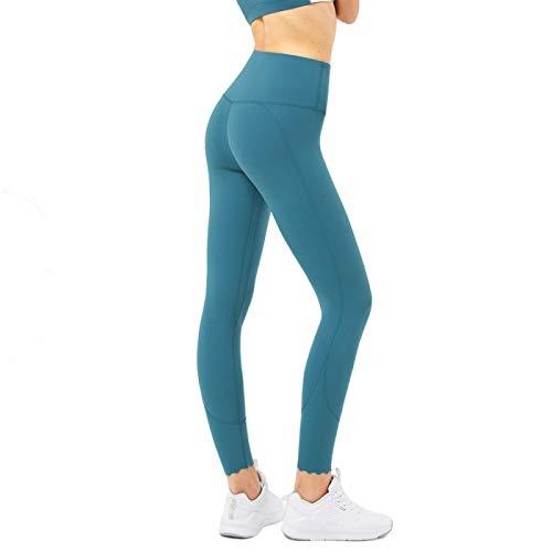 Leggings para Mujer - Pantalones de Cintura Alta de 7/8 para Mujer Control de Barriga Premium Levantamiento de glúteos para Yoga, Entrenamiento, Senderismo, Correr Desert Teal Blue Small