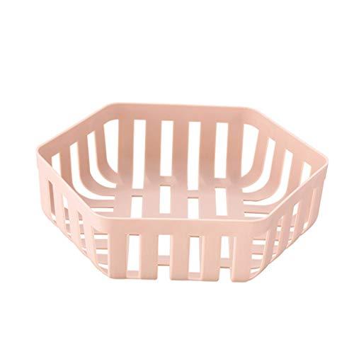 Yyqx Frutero de plástico, cesta de frutas, cesta de drenaje de cocina, para el hogar, estilo nórdico, bandeja para aperitivos, creativa fruta, cesta de frutas (color: rosa claro)
