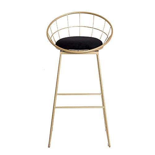 Relaxbx Hoge barkruk voor keukeneiland, barkruk | Moderne tafel stoel met rugleuning en voetensteun | metalen poot en zacht fluweel kussen | tegenhoogte 29,5 inch - zwart