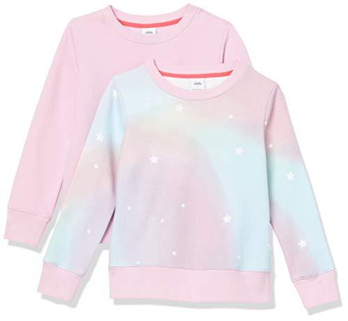 Amazon Essentials Girls' 2-Pack Crewneck Sweatshirt Playwear-Dresses, Ombre Stern/Rosa, US L (EU 134-140 cm)