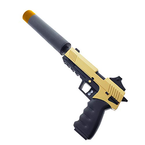FN Toy Gun, Foam Pistol, Foam Gun with Silencer, Sneaky Silencers Mode Custom Prop Replica for Cosplay, Gifts, Collectible Yellow