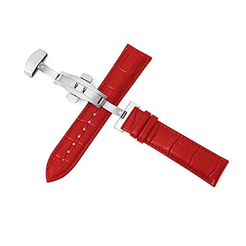 PZZZHF Cuerdas de Reloj de Cuero Genuino 12-24mm Reloj Universal Banda de Hebilla de Mariposa Strap de Hebilla de Acero 22mm Reloj Banda (Band Color : Silver-Red, Band Width : 14mm)