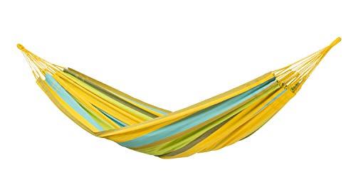 AMAZONAS XXL hangmat Colombiana Limona 240cm x 160cm tot 200kg in geel gestreept