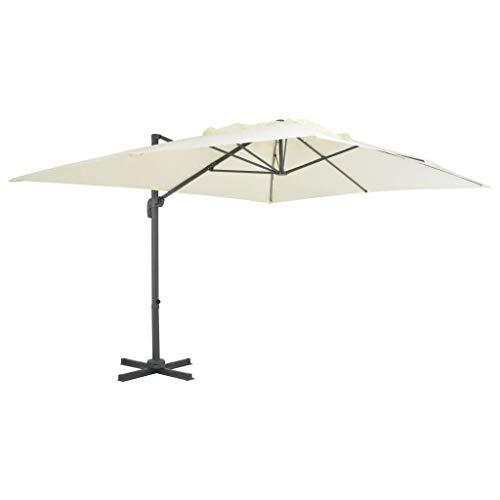 Cikonielf - Sombrilla basculante de 400 x 300 x 268 cm, parasol de exterior con palo de aluminio, sombrilla rectangular, para terraza, jardín, playa, arena