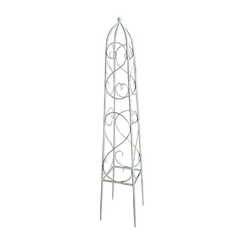 Enrejados de Obelisco de Jardín, Tapas de Bolas Pequeñas, para Plantas, Flores Trepadoras y Enredaderas, Celosias Rústico de Metal Blanco Oscuro