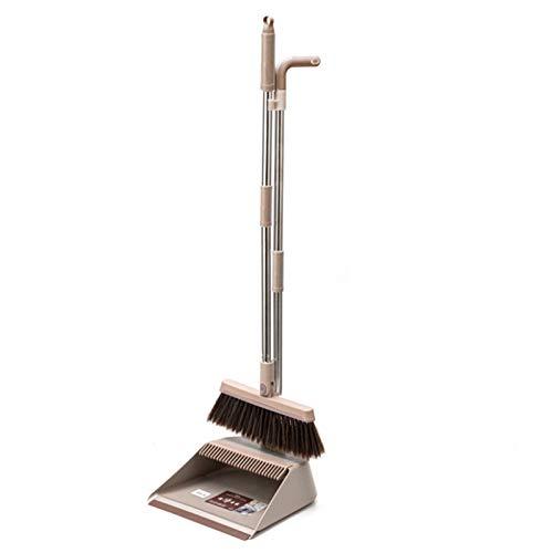XMSIA Dustpan y Juego de Cepillos Escoba y Polvo Conjunto combinación de Cabello Suave para el hogar sin Palo Limpieza y Barrido para el Lobby Limpieza de Cocina (Color : Khaki, Size : One Size)