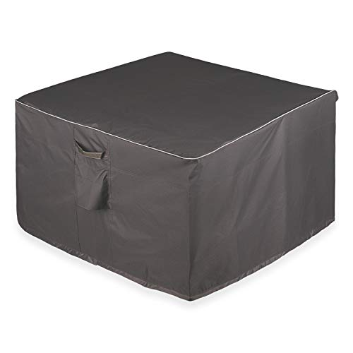 Leader Accessories Full Coverage Round Fire Pit/Bistro Table Cover Heavy Duty & Waterproof Fabric (Square - 36' L x 36' W x 22' H, Dark-Grey)