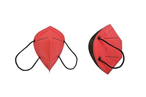 Airnatech Mascarilla Higiénica Plus Roja - Protección Bidireccional - 5 Unidades - Fabricada en España - Homologada y Certificada por AENOR y AITEX - Reutilizable hasta 20 lavados