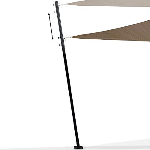 IDMarket - Mât de Fixation réglable pour Voile d'ombrage H. 220 cm Poteau et Base Acier