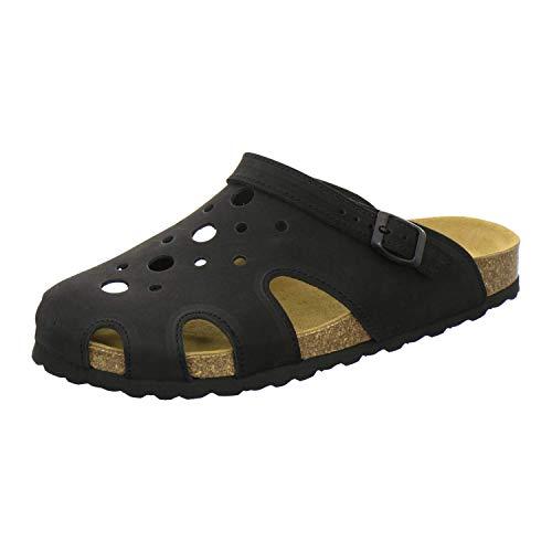 AFS-Schuhe Herren Hausschuhe 45 aus Leder geschlossen, Winter Clogs Herren bequem flach, Schlappen für Männer, 3093 (45 EU, schwarz)