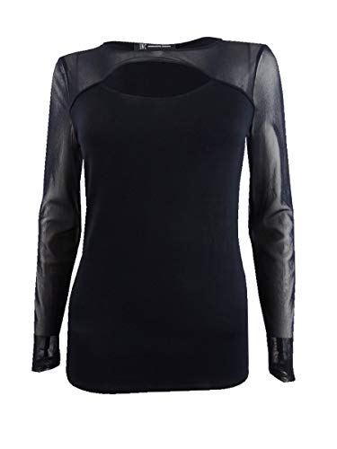 Price comparison product image INC Womens Cutout Illusion Fitted Top Black M