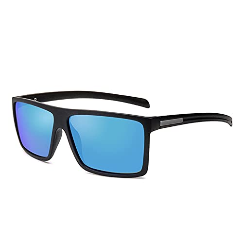 ASZX Gafas de Sol polarizadas Hombres Mujeres Classic Plaza Plastic Plastic Gafas de Sol Masculina Moda Black Shades UV400 622 (Frame Color : 1 pcs, Size : C5 Matte Blue)