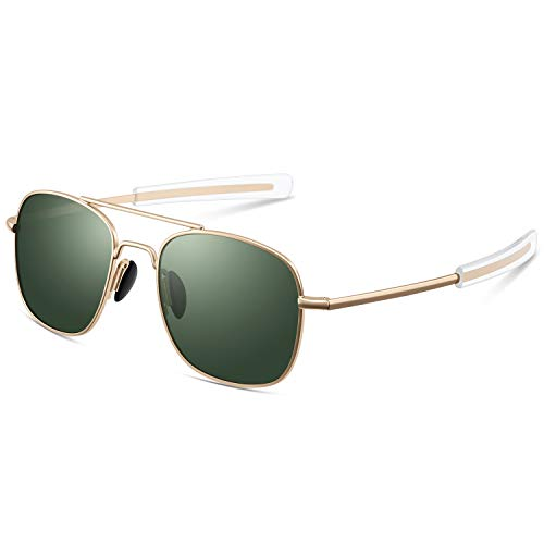 Pilot Aviator Sunglasses for Men Retro Military Navigator Army Polarized Classic Gold Glasses