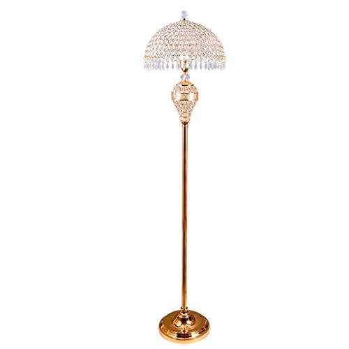 Jixi Staande lamp, moderne vloerlamp van metaal, E27-lampenkap van kristalglas, voor slaapkamer, woonkamer, etageverlichting