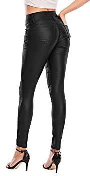 Ecupper Womens Black Faux Leather Stretch Push Up Sexy Pants 29  Inseam-Regular M-36