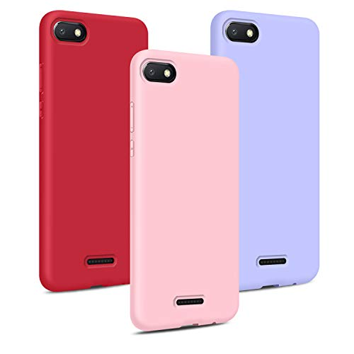 3X Funda Xiaomi Redmi 6A, Carcasas Flexible Suave TPU Silicona Ultra Delgado Protección Caso(Rojo, Rosa Claro, Púrpura Claro)