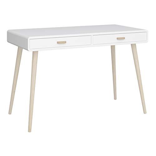 Steens MINO Schreibtisch, Computertisch, 114 x 76 x 57 (B/H/T), extra breit, Weiß, 2 Schubladen, freistellbar