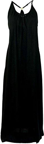 Guru-Shop Sommerkleid, Maxikleid, Strandkleid, Hippiekleid, Damen, Schwarz, Synthetisch, Size:M/L (42), Lange & Midi-Kleider Alternative Bekleidung