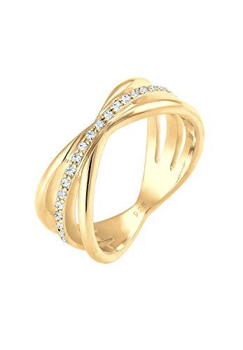 Elli PREMIUM Ring Damen Wickelring Blogger mit Swarovski Kristallen in 925 Sterling Silber