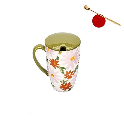 Taza De Agua De Jugo De Cerámica De Taza De Gran Capacidad De Flor De 450 Ml Con Tapa De Cuchara Microondas Desayuno Leche Taza De Pareja Verde