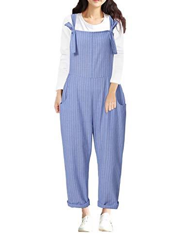 Style Dome Peto Mujer Monos de Cuadros Vintage con Tiras de Los Años 90 Peto a Cuadros Monos en General Pantalones Pantalones Peto Azul-G21919 M