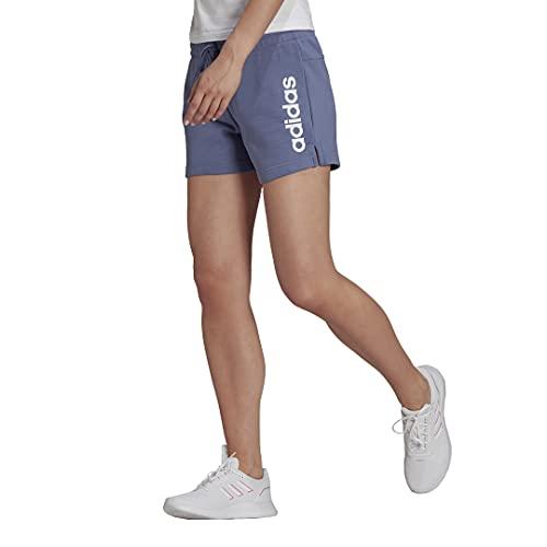 adidas Women's Plus Size Essentials Slim Logo Shorts, Orbit Violet/White, 4X