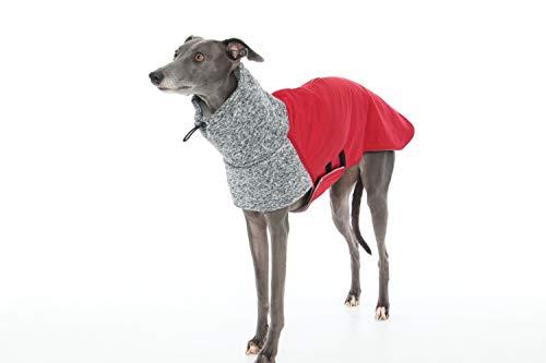 Abrigo de forro polar para todo tipo de clima, color rojo y gris oscuro, para galgos, galgo italiano, lurcher, saluki, Sighthound chamarra de ropa para perro