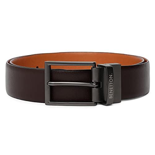 United Colors of Benetton Men's Genuine Leather Reversible Belt ( Brown/ Tan ), 30