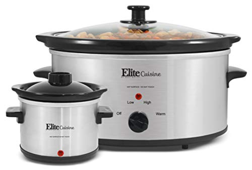 Elite Cuisine MST-500D Maxi-Matic 5 quart Slow Cooker with Dipper, black Stainless Steel