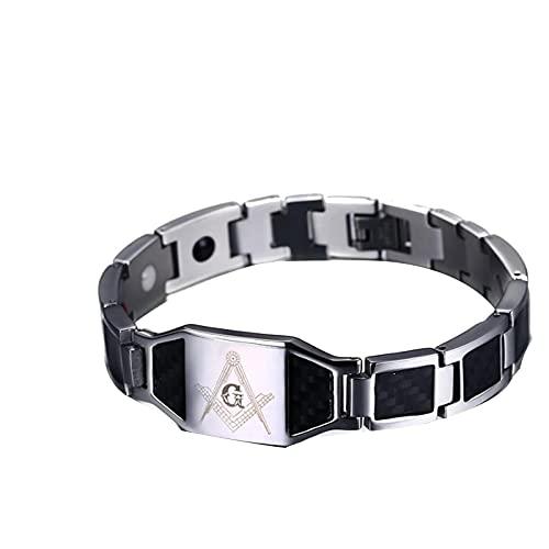 Freemason Negro Pulsera Magnética De Acero Inoxidable Para Hombre Pulsera De Identificación Pulsera Magnética De Fibra De Carbono Para Hombre