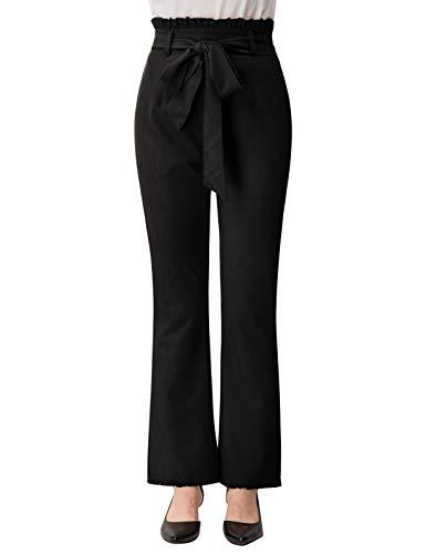 Belle Poque Paperbag Waist Pants Juniors Black High Rise Boot Cut Pants for Summer M