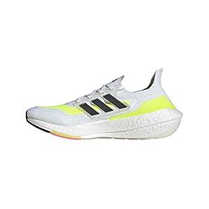 adidas Men's Ultraboost 21 Running Shoe, White/Black/Solar Yellow, 12