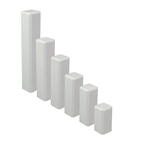 Trevendo® 10er Pack Eckstäbe, Ecktürme, Innenecken, Außenecken aus Holz weiß lackiert RAL 9010 (22 x 22 x 43 mm)