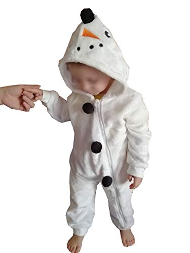 Carolilly - Pelele con capucha, diseño de unicornio y muñeco de nieve, unisex, de manga larga Blanc-bonhomme de Neige 18-24 Meses