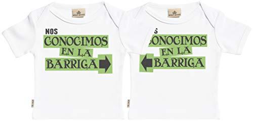 SR - Estuche de presentación - Nos conocimos en la Barriga - Conjunto Gemelo - Camisetas para bebé niño - Camisetas para bebé niña - Conjunto Regalo del bebé Blanco