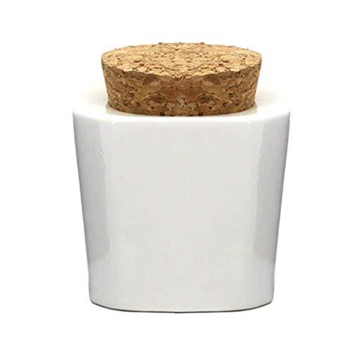 1 bol en céramique pour nail art avec bouchon en liège - Outil de beauté pour mélanger la poudre acrylique liquide et les outils de nail art, blanc.